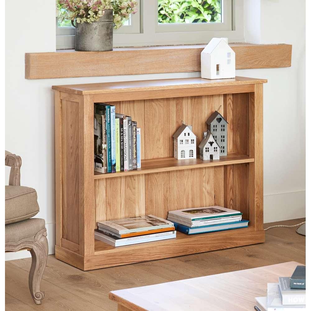 mobel solid oak low bookcase