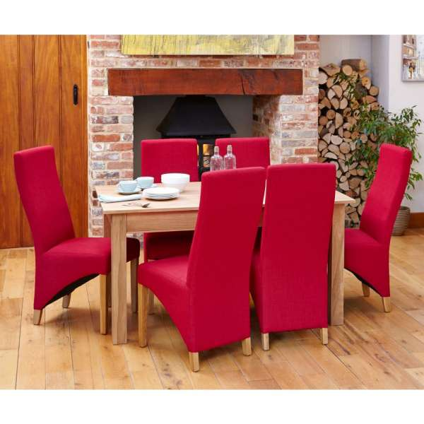 Mobel Solid Oak Medium Dining Table And Six Red Chairs Set