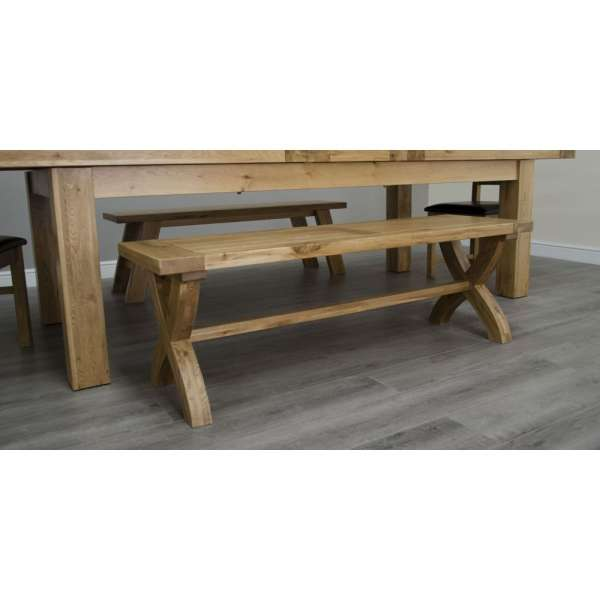 Astonishing Deluxe Solid Oak Dining Cross Leg Bench Squirreltailoven Fun Painted Chair Ideas Images Squirreltailovenorg