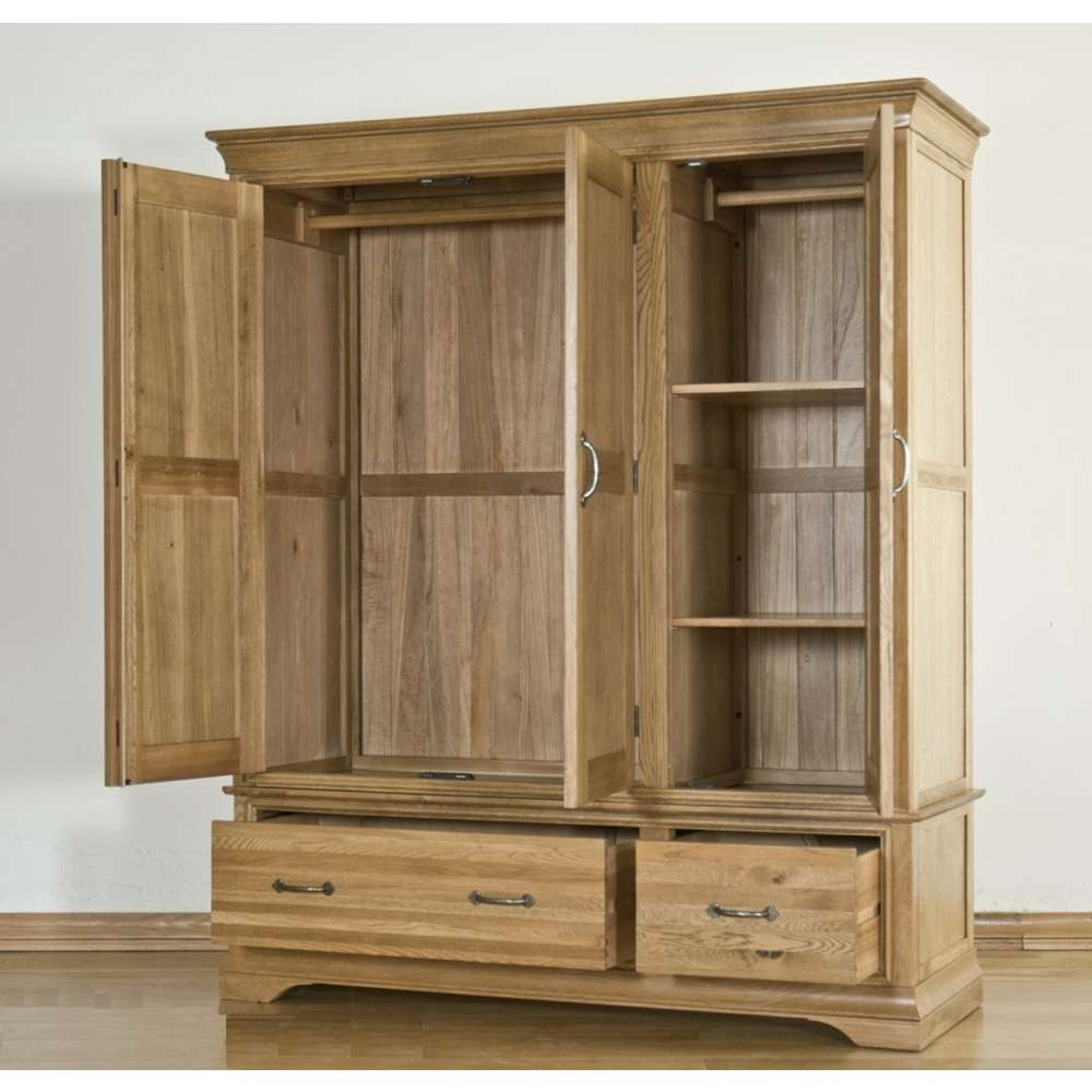 French Solid Oak Triple Wardrobe