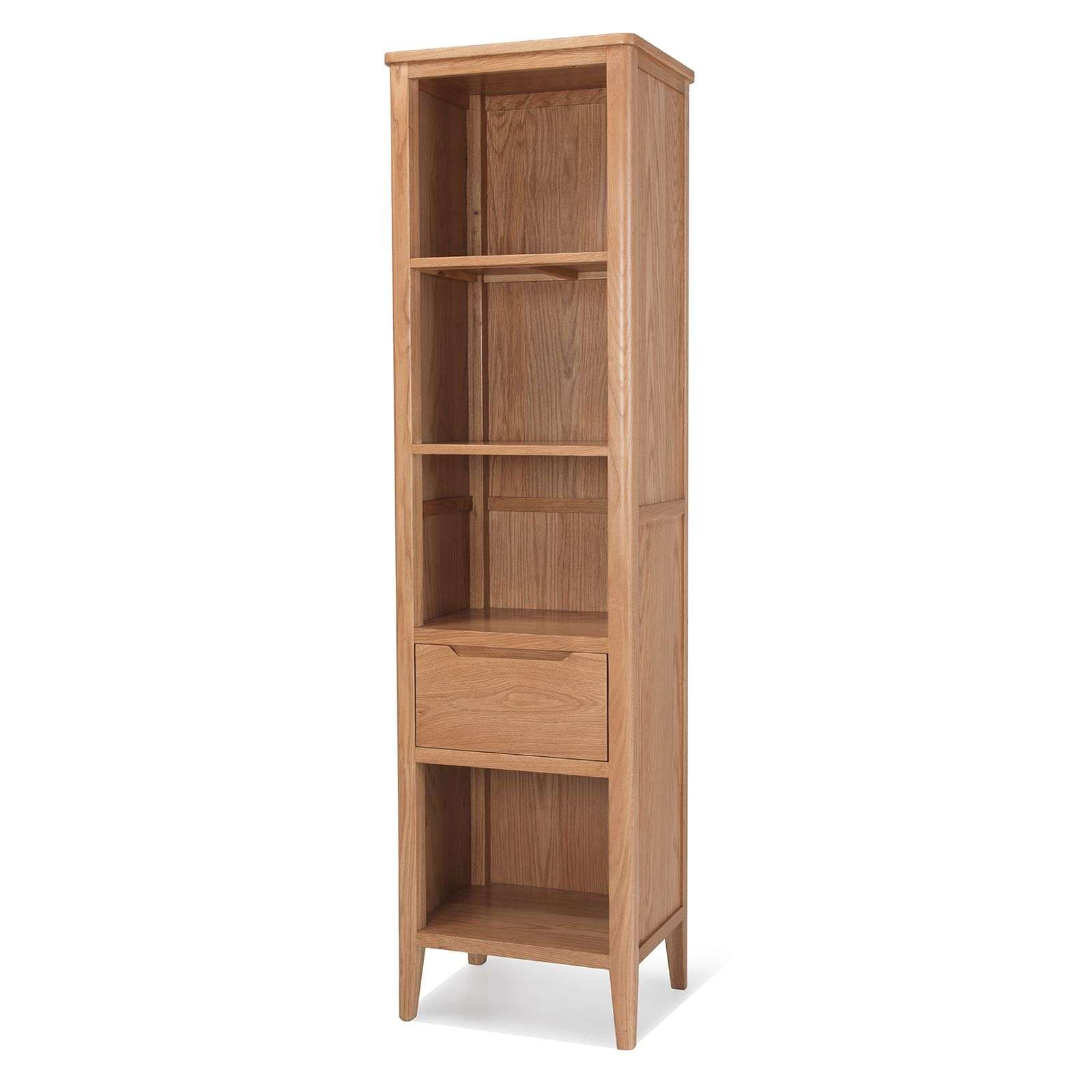 Palma Solid Oak Narrow Bookcase Fast Free Delivery