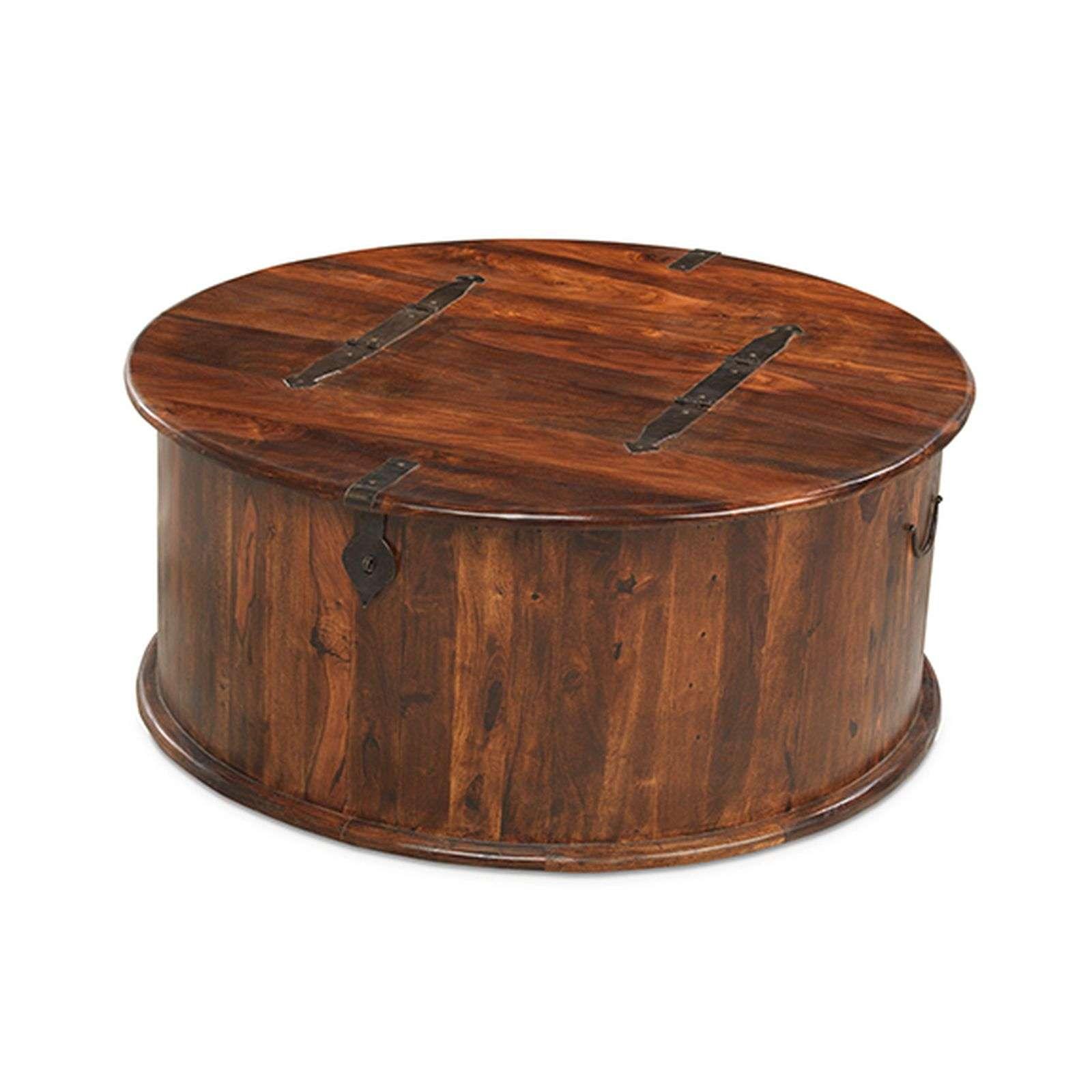 Bengal Indian Sheesham Round Coffee Table Storage Trunk