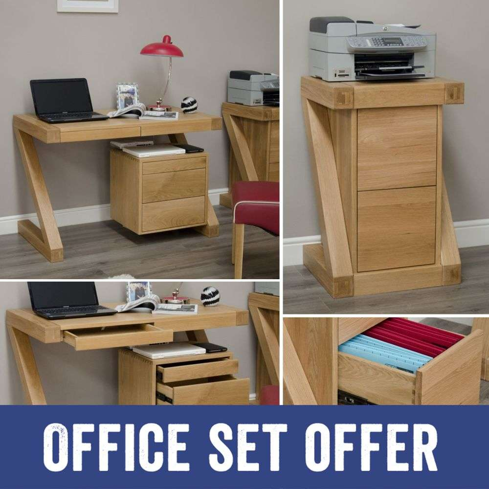 Z Solid Oak Furniture Desk And Filing Cabinet Package Sale