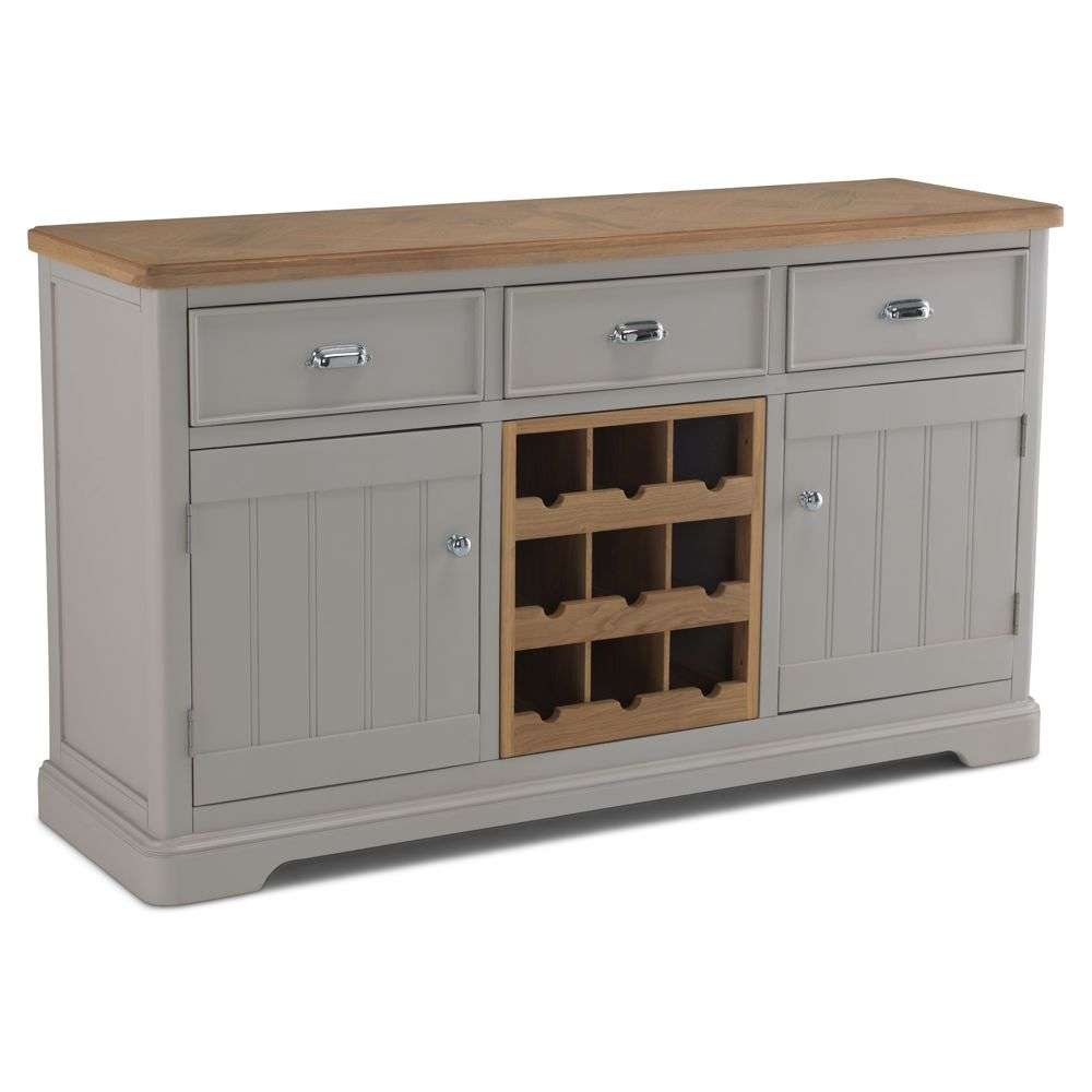 Barngate Grey Painted Oak Large Sideboard With Wine Rack