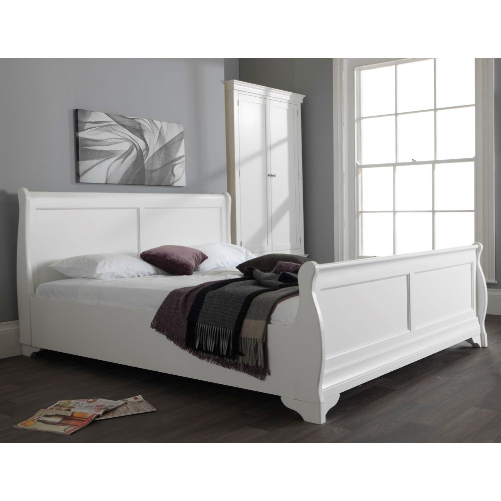 - Jolie Oak White Painted 6' Super King Size Sleigh Bed - SALE