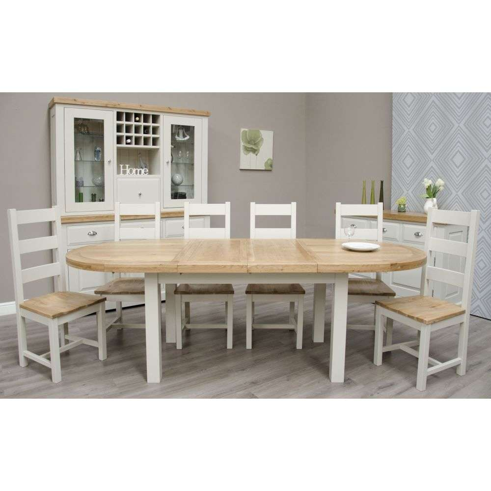 Deluxe Painted Oak Oval Extending Dining Table And Six Chairs Set Quality