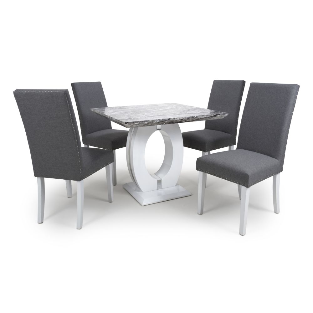 Neptune Square Marble Effect Top Dining Table With Four Chairs Set Sale