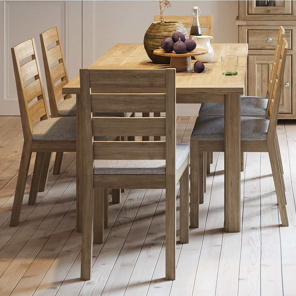 Bretagne Oak Extending Dining Table with 6 Chairs - Dining Set