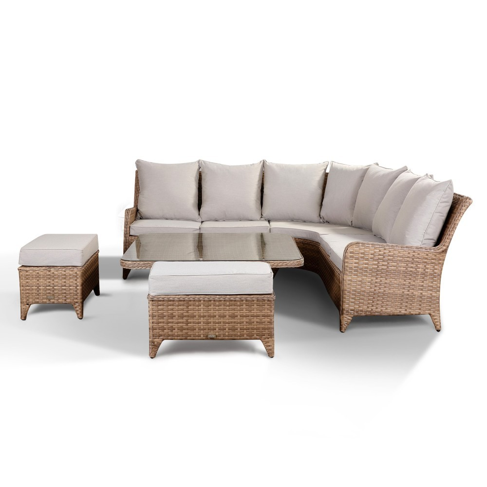 Laytona Beige High Back Sofa with Rising Table and Benches ...